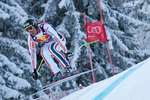 KITZBUHEL AUSTRIA. 22-01-2011. Didier Cuche (SUI) reacts in the finish area of the 71st Hahnenkamm downhill race part of  Audi FIS World Cup races in Kitzbuhel Austria.