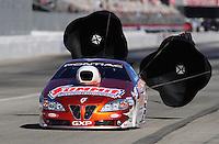 Nov 13, 2010; Pomona, CA, USA; NHRA pro stock driver Jason Line during qualifying for the Auto Club Finals at Auto Club Raceway at Pomona. Mandatory Credit: Mark J. Rebilas-