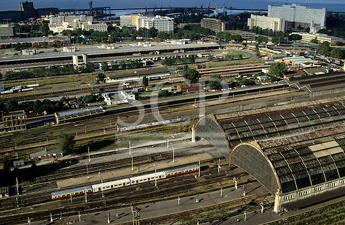 Buenos Aires, Argentina. Railway and bus stations with the port in the distance.
