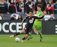 DC United midfielder Andy Najar (14) shield the ball against Seattle Sounders midfielder Alvaro Fernandez (15)   DC United defeated The Seattle Sounders 2-1 at  RFK Stadium, Wednesday May 4, 2011.