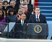 Inaugural Poet Richard Blanco recites his poem 'One Today'  after U.S. President Barack Obama was sworn-in for a second term as the President of the United States by Supreme Court Chief Justice John Roberts during his public inauguration ceremony at the U.S. Capitol Building in Washington, D.C. on January 21, 2013.      .Credit: Pat Benic / Pool via CNP