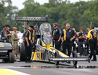 Aug 20, 2017; Brainerd, MN, USA; Crew members for NHRA top fuel driver Tony Schumacher during the Lucas Oil Nationals at Brainerd International Raceway. Mandatory Credit: Mark J. Rebilas-USA TODAY Sports