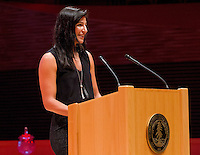 STANFORD, CA - OCTOBER 16, 2015—Sebnem Kimyacioglu, presents Nicole Powell, into the 2015 Stanford Athletics Hall of Fame Induction Ceremony at the Bing Concert Hall .