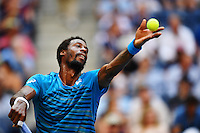 NEW YORK, USA - SEPT 09, Gael Monfils of France serves to Novak Djokovic of Serbia during their Men's Singles Semifinal Match of the 2016 US Open at the USTA Billie Jean King National Tennis Center on September 9, 2016 in New York.  photo by VIEWpress
