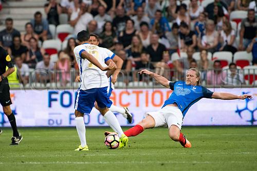 June 17th 2017; Allianz Riviera, Nice, France; Legends football international, France versus Italy;  Emmanuel Petit (France) - Simone Barone (Ita)