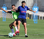 Atletico de Madrid's Renan Lodi (l) and Angel Correa during training session. May 23,2020.(ALTERPHOTOS/Atletico de Madrid/Pool)