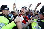 Sheffield United's Billy Sharp celebrates promotion during the League One match at the Sixfields Stadium, Northampton. Picture date: April 8th, 2017. Pic David Klein/Sportimage