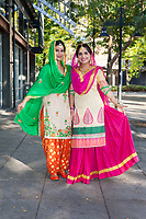 Two Indian Woman Wearing Traditional Clothing, Renton Multicultural Festival 2017, WA, USA.