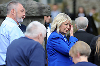 Pictured: Family and friends of Carson arrive for the funeral at Gelligaer Church, in Gelligaer, Wales, UK Tuesday 07 May 2019<br /> Re: Funeral of 13 year old Carson Price at Gelligaer Church, in Gelligaer, Wales, UK.<br /> Schoolboy Carson Price was found at a park in Ystrad Mynach, south Wales at the start of the Easter school holidays.<br /> It is believed he had taken MDMA Donkey Kong tablets.