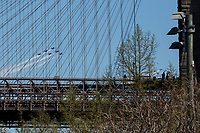 NEW YORK, NY - APRIL 28: The Blue Angels and Thunderbirds fly over New York on April 28, 2020 in New York, NY. The Navy Blue Angels and Thunderbirds of the US Air Force. USA They fly over several cities as part of the collaborative 'American Strong' salute of two forces to recognize health workers, first responders, and other essential personnel during the coronavirus or COVID-19 pandemic (Photo by Pablo Monsalve/VIEWpress)