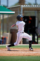 GCL Marlins Nasim Nunez (1) bats during a Gulf Coast League game against the GCL Astros on August 8, 2019 at the Roger Dean Chevrolet Stadium Complex in Jupiter, Florida.  GCL Astros defeated GCL Marlins 4-2.  (Mike Janes/Four Seam Images)