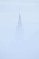 Church tower in the mist. Bergharen, The Netherlands.