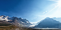 Scenic late afternoon view across the Athabasca Glacier, part of the Columbia Icefield.