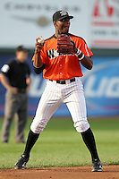Erie Seawolves third baseman Audy Ciriaco during a game vs. the Reading Phillies at Jerry Uht Park in Erie, Pennsylvania;  July 19, 2010.   Reading defeated Erie 6-1.  Photo By Mike Janes/Four Seam Images