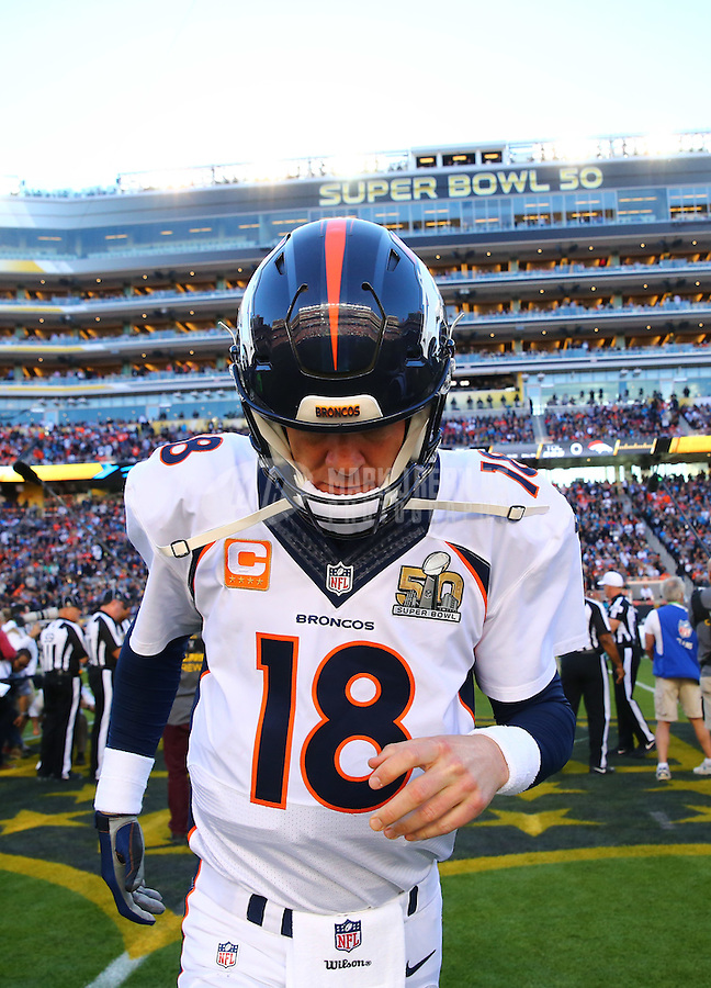 Feb 7, 2016; Santa Clara, CA, USA; Denver Broncos quarterback Peyton Manning (18) runs off the field following the coin toss prior to Super Bowl 50 against the Carolina Panthers at Levi's Stadium. Mandatory Credit: Mark J. Rebilas-USA TODAY Sports