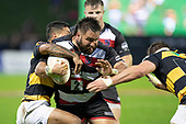 Joseph Royal gets tackled by Te Toiroa Tahuriorangi and Lachlan Boshier. Mitre 10 Cup rugby game between Counties Manukau Steelers and Taranaki Bulls, played at Navigation Homes Stadium, Pukekohe on Saturday August 10th 2019. Taranaki won the game 34 - 29 after leading 29 - 19 at halftime.<br /> Photo by Richard Spranger.