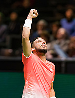Rotterdam, The Netherlands, 14 Februari 2019, ABNAMRO World Tennis Tournament, Ahoy, Damir Dzumhur (BIH) reacts in his match against Mikhail Kukushkin (KAZ),<br /> Photo: www.tennisimages.com/Henk Koster