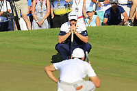 Justin Rose (ENG) and Haotong Li (CHN) on the 16th green during Sunday's Final Round of the 2018 Turkish Airlines Open hosted by Regnum Carya Golf &amp; Spa Resort, Antalya, Turkey. 4th November 2018.<br /> Picture: Eoin Clarke | Golffile<br /> <br /> <br /> All photos usage must carry mandatory copyright credit (&copy; Golffile | Eoin Clarke)