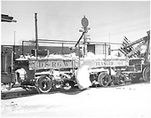 3/4 view of D&amp;RGW flanger #OC coupled to partially visible Jordan spreader #OU at Alamosa.<br /> D&amp;RGW  Alamosa, CO  Taken by Richardson, Robert W. - 1/6/1946