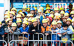 Workers enjoy the 2018 Shanghai Criterium, Shanghai, China. 17th November 2018.<br /> Picture: ASO/Alex Broadway | Cyclefile<br /> <br /> <br /> All photos usage must carry mandatory copyright credit (&copy; Cyclefile | ASO/Alex Broadway)