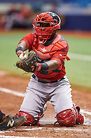 Boston Red Sox catcher Roldani Baldwin (43) tags out Brett Sullivan attempting to score during an instructional league game against the Tampa Bay Rays on September 24, 2015 at Tropicana Field in St Petersburg, Florida.  (Mike Janes/Four Seam Images)