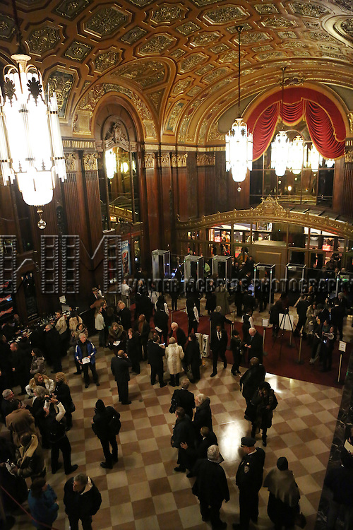 attending the Kings Theatre Re-Opening in Flatbush, Brooklyn on February 3, 2015 in New York City. <br /> A once gilded Brooklyn movie palace that's been crumbling for decades, with pigeons infesting its stage, is back - again a glittering gem from the 1920s.<br /> Diana Ross headlines the opening night at the 3,200-seat Kings Theatre  where a teenage Barbra Streisand spent afternoons enjoying double-features.<br /> After a two-year, $95 million renovation, every detail from its jazz age 1929 incarnation has come to life amid computerized sound and LED lighting. The theater that first opened weeks before the Wall Street crash is now the largest in New York's biggest borough.