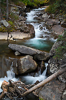 A river flowing from Hidden Falls in the Grand Tetons