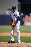 New York Yankees relief pitcher Domingo German (63) gets ready to deliver a pitch during a Grapefruit League Spring Training game against the Toronto Blue Jays on February 25, 2019 at George M. Steinbrenner Field in Tampa, Florida.  Yankees defeated the Blue Jays 3-0.  (Mike Janes/Four Seam Images)