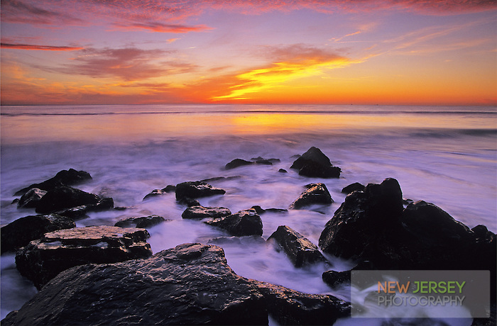 Atlantic Ocean, incoming tide at sunrise, Long Beach, New Jersey