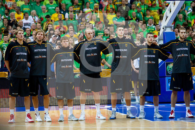 11.09.2011, Vilnius Arena, Vilnius, LTU, FIBA EuroBasket 2011, Litauen vs Deutschland, im Bild Players of Germany listening to the national anthemn during basketball game between National basketball teams of Lithuania and Germany at FIBA Europe Eurobasket Lithuania 2011, on September 11, 2011, in Siemens Arena,  Vilnius, Lithuania. EXPA Pictures © 2011, PhotoCredit: EXPA/ Sportida/ Vid Ponikvar  +++++ ATTENTION - OUT OF SLOVENIA/(SLO) +++++