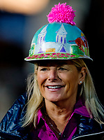 LOUISVILLE, KENTUCKY - MAY 03: A fan shows off a Derby-themes hat during Kentucky Derby and Oaks preparations at Churchill Downs on May 3, 2017 in Louisville, Kentucky. (Photo by Scott Serio/Eclipse Sportswire/Getty Images)