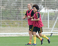 20180306 - LARNACA , CYPRUS :  Belgian Maud Coutereels and Kassandra Missipo (r) pictured during a Matchday -1 training from The Belgian Red Flames prior to their game against South Africa , on tuesday 6 March 2018 at the Alpha Sports Grounds in Larnaca , Cyprus . This will be the final game for Belgium during the Cyprus Womens Cup for a battle for the 5th place , a prestigious women soccer tournament as a preparation on the World Cup 2019 qualification duels. PHOTO SPORTPIX.BE | DAVID CATRY