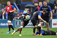 Niko Matawalu of Bath Rugby passes the ball. Bath Rugby Captain's Run on October 30, 2015 at the Recreation Ground in Bath, England. Photo by: Patrick Khachfe / Onside Images