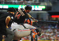 May 12, 2012; Phoenix, AZ, USA; Arizona Diamondbacks infielder Ryan Roberts at bat against the San Francisco Giants at Chase Field. Mandatory Credit: Mark J. Rebilas-.