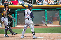 Matt Long (12) of the Colorado Springs Sky Sox at bat against the Salt Lake Bees in Pacific Coast League action at Smith's Ballpark on May 24, 2015 in Salt Lake City, Utah.  (Stephen Smith/Four Seam Images)