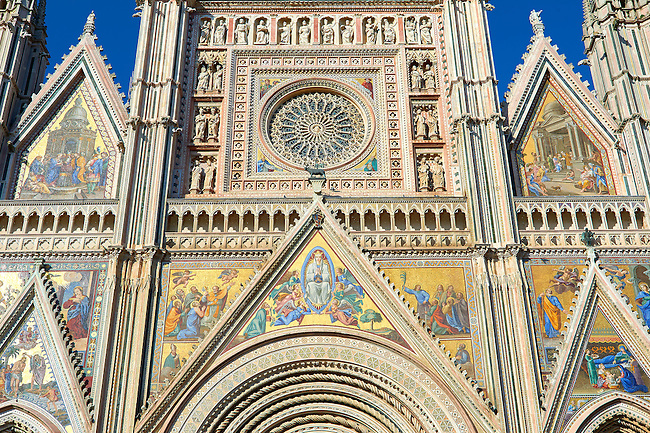 Detail of the facade of the14th century Tuscan Gothic style facade of the Cathedral of Orvieto, designed by Maitani, Umbria, Italy