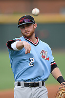 Shortstop Ryan Dorow (2) of the Hickory Crawdads warms up before game against the Greenville Drive on Monday, July 23, 2018, at Fluor Field at the West End in Greenville, South Carolina. Hickory won, 6-1. (Tom Priddy/Four Seam Images)