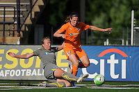 Sara Larsson (7) of the Philadelphia Independence goes for a tackle on Heather O'Reilly (9) of Sky Blue FC. The Philadelphia Independence defeated Sky Blue FC 2-1 during a Women's Professional Soccer (WPS) match at John A. Farrell Stadium in West Chester, PA, on June 6, 2010.
