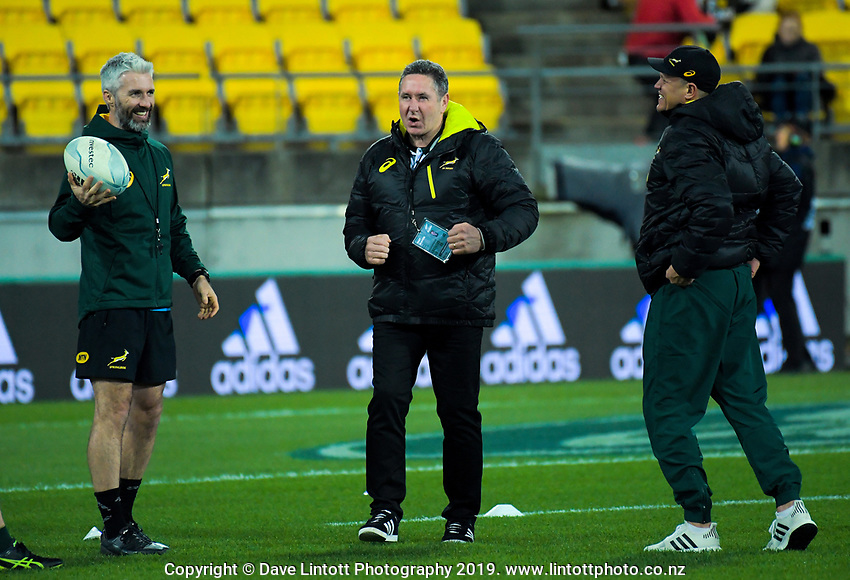 South Africa TLOs and staff joke before during the Rugby Championship rugby union match between the New Zealand All Blacks and South Africa Springboks at Westpac Stadium in Wellington, New Zealand on Saturday, 27 July 2019. Photo: Dave Lintott / lintottphoto.co.nz