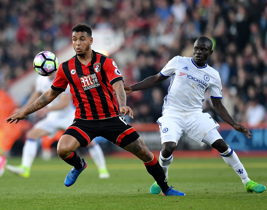 Bournemouth's Joshua King (L) in action against Chelsea<br /> <br /> Bournemouth 1 - Chelsea 3<br /> <br /> Photographer David Horton/CameraSport<br /> <br /> The Premier League - Bournemouth v Chelsea - Saturday 8th April 2017 - Vitality Stadium - Bournemouth<br /> <br /> World Copyright &copy; 2017 CameraSport. All rights reserved. 43 Linden Ave. Countesthorpe. Leicester. England. LE8 5PG - Tel: +44 (0) 116 277 4147 - admin@camerasport.com - www.camerasport.com
