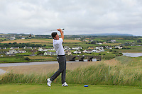 Cole Madey (USA) on the 9th tee during Matchplay Round 1 of the South of Ireland Amateur Open Championship at LaHinch Golf Club on Friday 22nd July 2016.<br /> Picture:  Golffile | Thos Caffrey<br /> <br /> All photos usage must carry mandatory copyright credit   (© Golffile | Thos Caffrey)