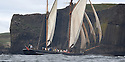 THE BESSIE ELLEN TRAVEL FEATURE.<br /> The Bessie Ellen sailing past the island of Staffa with its distinct geology in the Inner Hebrides, Scotland<br /> Photo:Clare Kendall<br /> 19/05/2016.