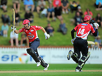 Todd Astle (left) celebrates scoring the winning run with Canterbury teammate Andrew Ellis. HRV Cup Twenty20 cricket - Wellington Firebirds v Canterbury Wizards at Allied Nationwide Finance Basin Reserve, Wellington. Sunday, 5 December 2010. Photo: Dave Lintott / lintottphoto.co.nz