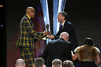 LOS ANGELES - JUNE 2: RuPaul, left,  accepts the Best Competition Series award for 'RuPaul's Drag Race' from Philip Rosenthal at the Critics' Choice Real TV Awards at the Beverly Hilton on June 2, 2019 in Beverly Hills, California. (Photo by Willy Sanjuan/PictureGroup)