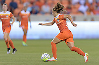Houston, TX - Friday April 29, 2016: Andressa (17) of the Houston Dash brings the ball up the field against Sky Blue FC at BBVA Compass Stadium. The Houston Dash tied Sky Blue FC 0-0.