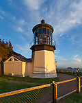 Tillamook County, Oregon:<br /> Evening clouds over Cape Meares lighthouse, Cape Meares State Park