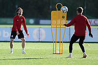 Joe Allen (left) and Aaron Ramsey (right) of Wales in action during the Wales Training Session at The Vale Resort in Cardiff, Wales, UK. Monday 12 November 2018