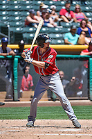 Rocky Gale (17) of the El Paso Chihuahuas at bat against the Salt Lake Bees in Pacific Coast League action at Smith's Ballpark on July 26, 2015 in Salt Lake City, Utah. El Paso defeated Salt Lake 6-3 in 10 innings. (Stephen Smith/Four Seam Images)