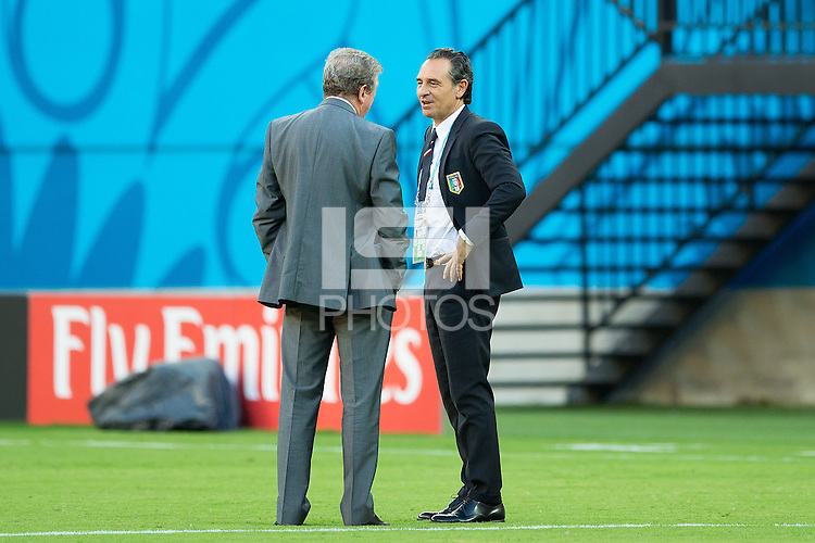 England manager Roy Hodgson with Italy manager Cesare Prandelli