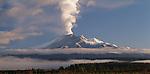 Volcanic plume over Mount Ruapehu. Manawatu/Whanganui Region. New Zealand.